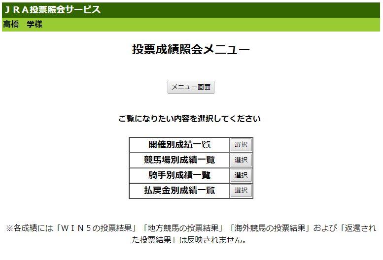 Club JRA-Net投票成績照会