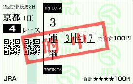 2015.02.01京都4R的中馬券
