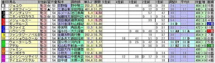 スピード指数を参考にして購入した未勝利戦の出馬表