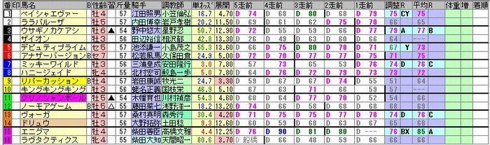 20181118東京8R簡易出馬表