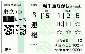 2019東京新聞杯3連複馬券