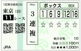 2019根岸S3連複馬券