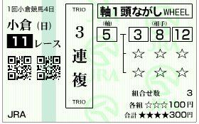 2019小倉大賞典3連複馬券