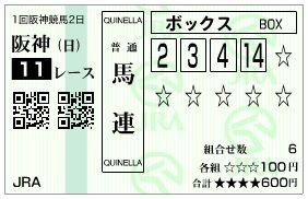 2019阪急杯馬連馬券